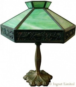 EDWARD MILLER & COMPANY ART NOUVEAU TABLE LAMP 1