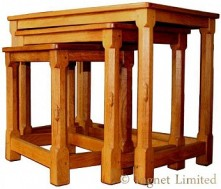ROBERT MOUSEMAN THOMPSON NEST OF ADZED TOP OAK TABLES