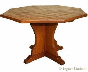 SID POLLARD YORKSHIRE OAK ADZED OCTAGONAL COFFEE TABLE 1