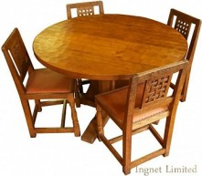 ROBERT MOUSEMAN THOMPSON CIRCULAR DINING TABLE WITH A SET OF 4 VINTAGE LATTICE BACK DINING CHAIRS
