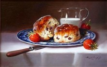 RAYMOND CAMPBELL (20th C.) OIL ON BOARD SCONES AND STRAWBERRIES