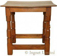 ROBERT MOUSEMAN THOMPSON OAK SIDE TABLE/STOOL