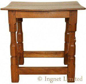 ROBERT MOUSEMAN THOMPSON OAK SIDE TABLE/STOOL 1