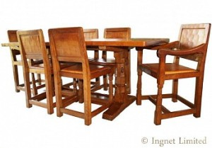 ROBERT MOUSEMAN THOMPSON CLASSIC DINING SUITE WITH ORIGINAL INVOICE 1