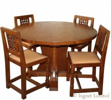 ROBERT MOUSEMAN THOMPSON VINTAGE DINING SUITE WITH A RARE 4 FOOT CIRCULAR TABLE AND 4 LATTICE BACK CHAIRS