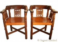 ROBERT MOUSEMAN THOMPSON RARE PAIR OF EARLY MONKS CHAIRS