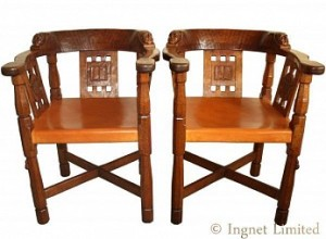 ROBERT MOUSEMAN THOMPSON RARE PAIR OF EARLY MONKS CHAIRS 1