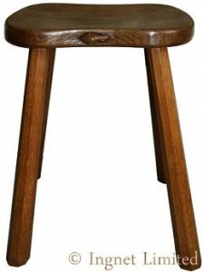 ROBERT MOUSEMAN THOMPSON VINTAGE 4 LEGGED ADZED MILKING STOOL 1