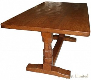 ROBERT MOUSEMAN THOMPSON VINTAGE DOWELLED TOP 5 FOOT DINING TABLE 1