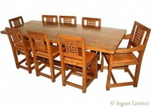 ROBERT MOUSEMAN THOMPSON VINTAGE DINING SUITE 7ft TABLE AND 8 LATTICE BACK CHAIRS
