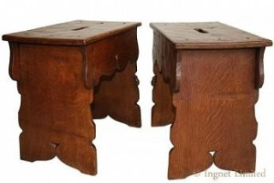 ROBERT MOUSEMAN THOMPSON VERY RARE EARLY PAIR OF BOARDED STOOLS 1930 1