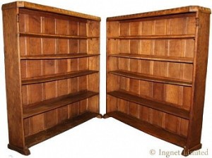 THOMAS GNOMEMAN WHITTAKER PAIR OF EARLY OAK BOOKCASES 1