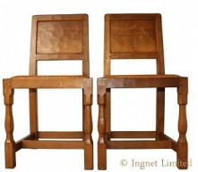 YORKSHIRE OAK PAIR OF DINING - HALL CHAIRS BY ALBERT EAGLEMAN JEFFRAY