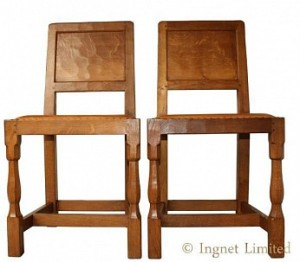 YORKSHIRE OAK PAIR OF DINING – HALL CHAIRS BY ALBERT EAGLEMAN JEFFRAY 1