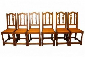 ROBERT MOUSEMAN THOMPSON RARE SET OF 6 EARLY OAK DINING CHAIRS 1