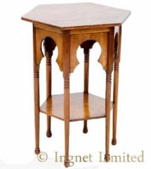 ARTS & CRAFTS MOORISH GOLDEN OAK OCCASIONAL TABLE PROBABLY RETAILED BY LIBERTY & CO