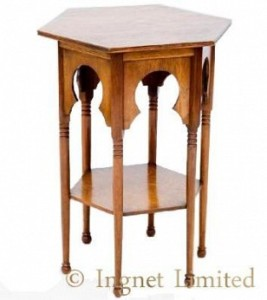 ARTS & CRAFTS MOORISH GOLDEN OAK OCCASIONAL TABLE PROBABLY RETAILED BY LIBERTY & CO 1