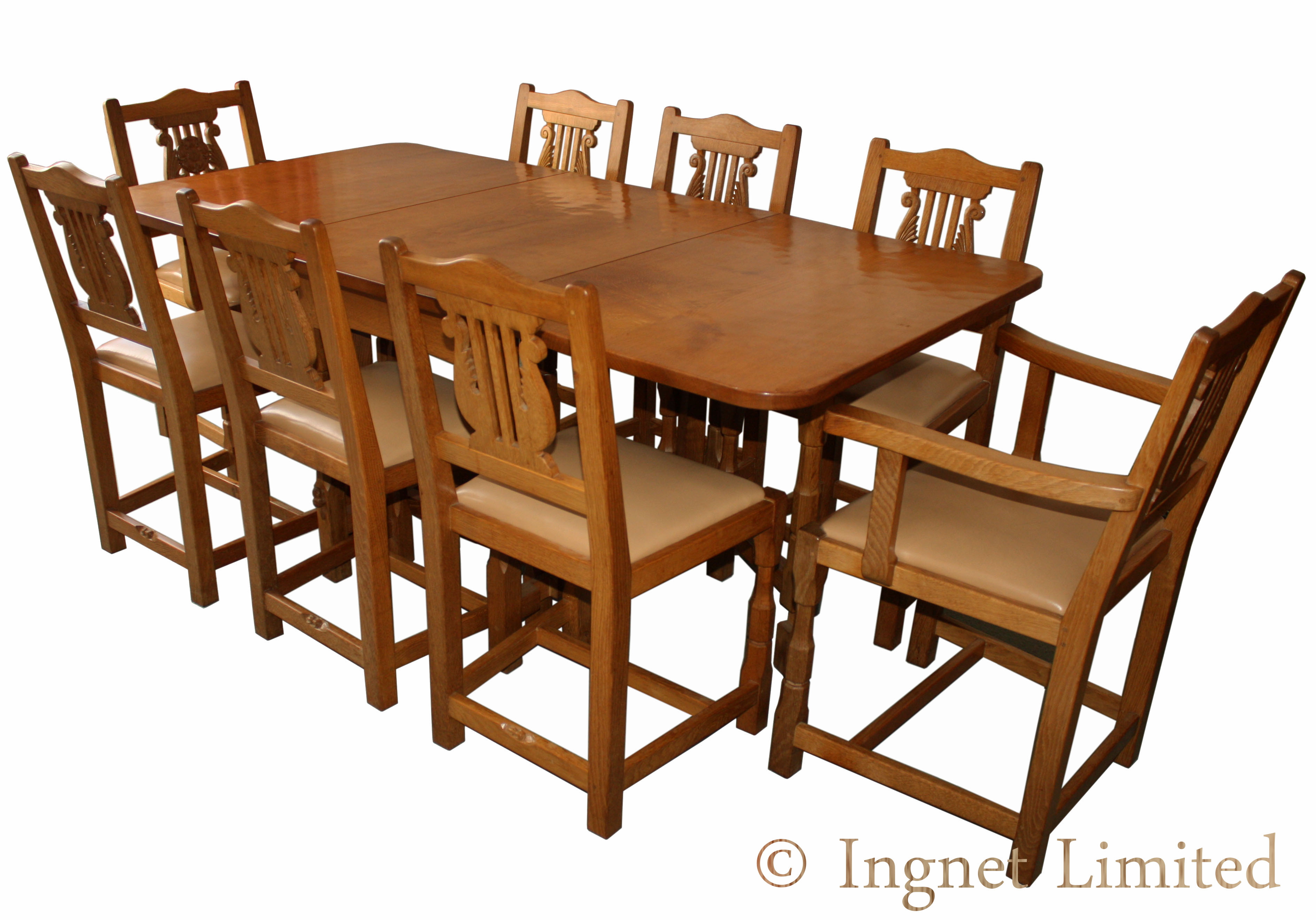 COLIN BEAVERMAN ALMACK ADZED OAK DINING TABLE WITH 8 CHAIRS Ingnet