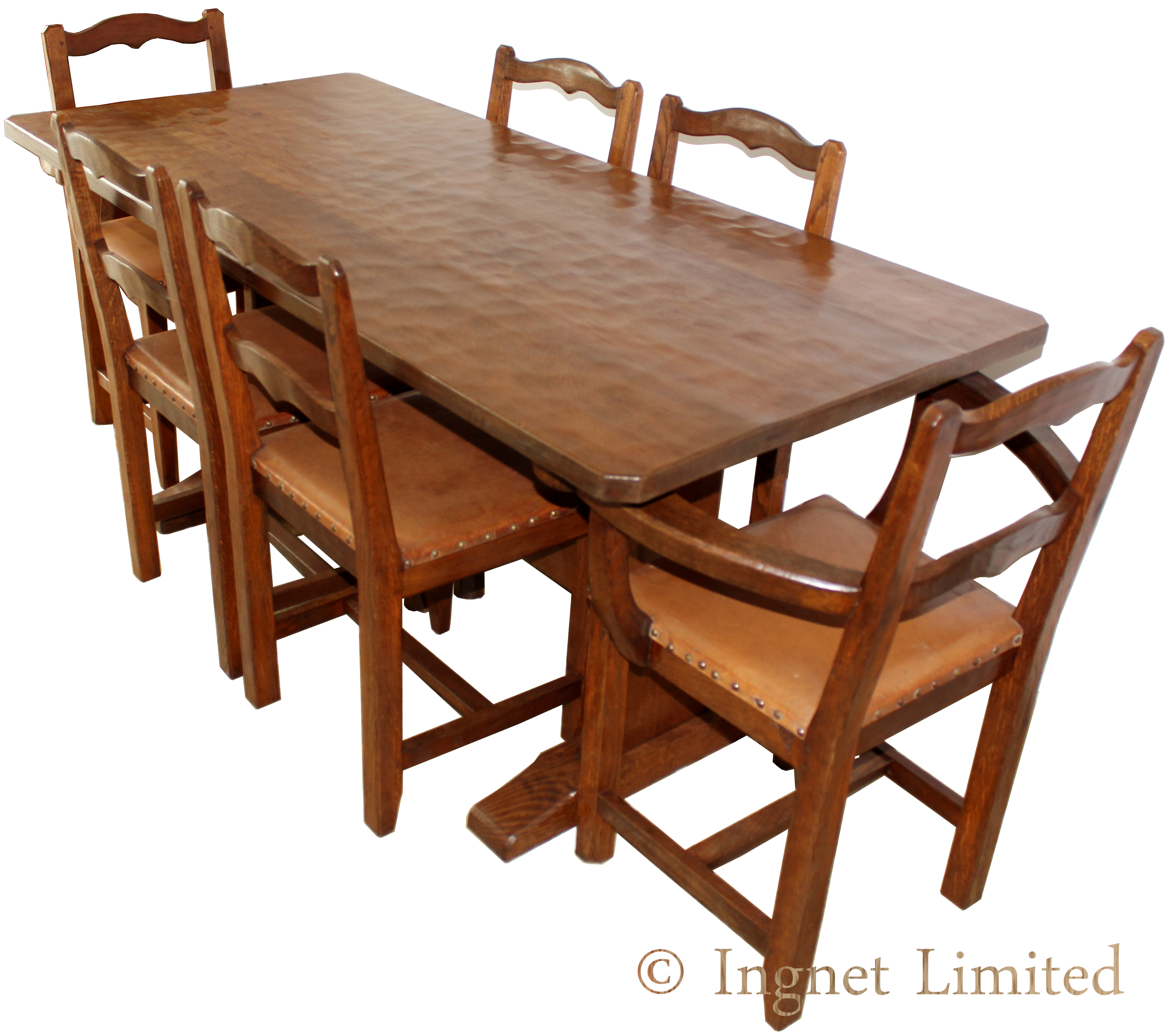 King post yorkshire oak adzed dining suite ingnet